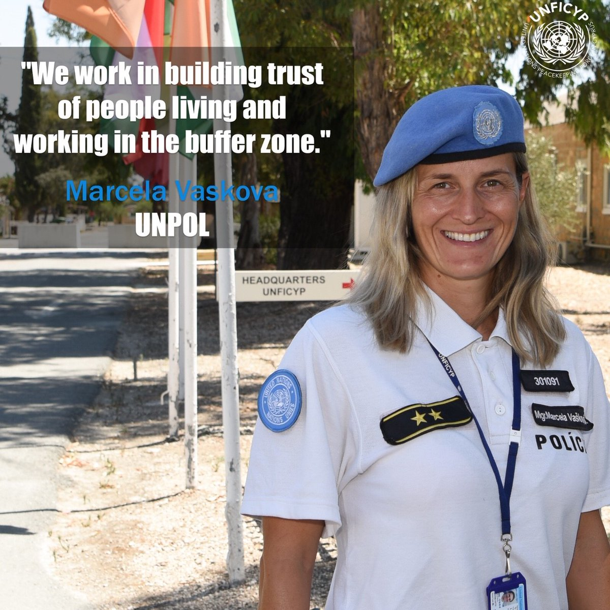 Meet Marcela Vaskova, one of our @UNPOL officers from Slovakia, who is working in #Pyla and how her role is contributing to peace in #Cyprus. Her full interview is on #BlueBeret magazine: https://t.co/7yLlCRungV #WPSin2020 #A4P #Serving4Peace https://t.co/pqOn0ZVHol