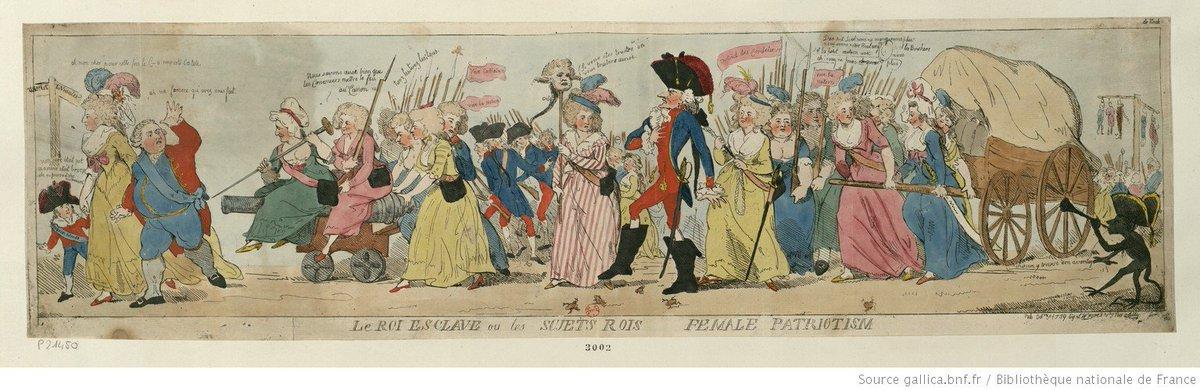 """Olivier Varlan on Twitter: """"""""Le Roi esclave ou les sujets rois : female  patriotism"""". Caricature anglaise d'Isaac Cruikshank, représentant les  journées d'octobre 1789. @GallicaBnF https://t.co/UxCXB5fxrm…  https://t.co/PbxrNpexL6"""""""