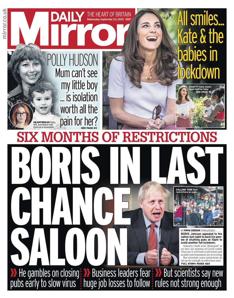 Boris In Last Chance Saloon. He gamble son closing pubs early to slow virus. Business leaders fear huge job losses to follow. But scientists say new rules not strong enough ~ https://t.co/VV9pm1FRJQ @PippaCrerar @benglaze   #frontpagestoday #UK #DailyMirror #buyapaper 🗞 👍 https://t.co/5iUsfABL2I