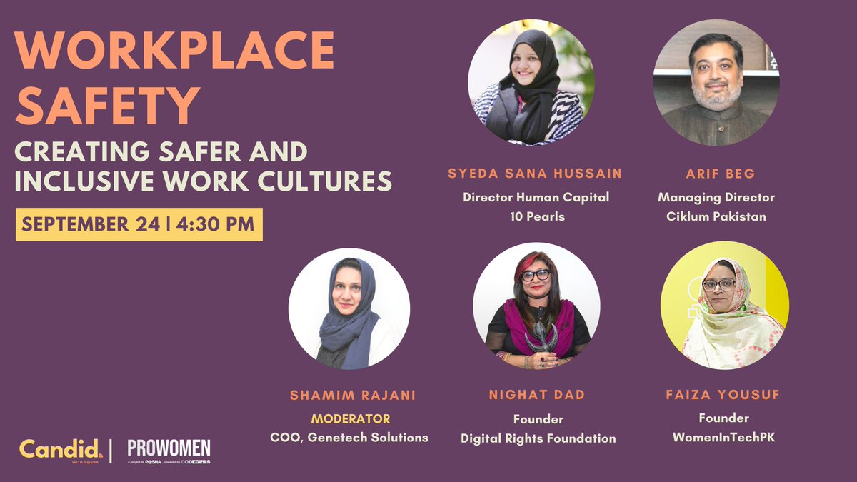 """Next on Candid with P@SHA, we have """"Workplace Safety - Creating safer and inclusive work cultures"""". Catch us LIVE on Facebook tomorrow, Sep 24th at 4:30 PM!  From the event page linked below, you can add a reminder to your calendar:  https://t.co/lCnJSMy4Wz  @nighatdad https://t.co/G1oFbCGU3H"""