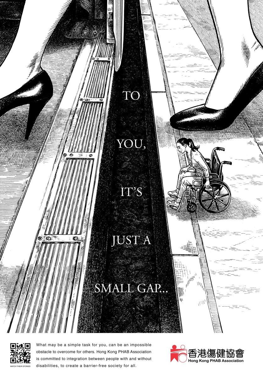 """""""Pour vous, ce n'est qu'un petit fossé...""""  Sensibilisation très parlante de l'association """"Hong Kong PHAB"""" qui milite pour les droits des personnes handicapées. https://t.co/dp97prUKvM"""