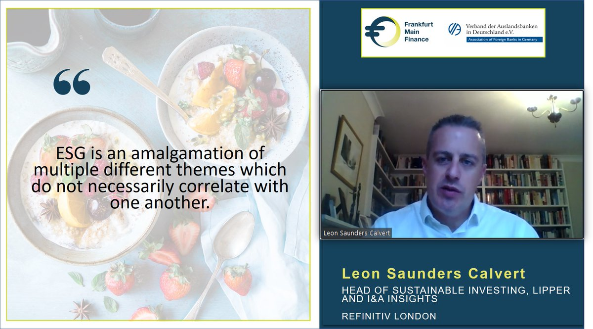 "Live now | ""#ESG do not necessarily correlate with one another."" – @LeonSCal, Head of Sustainable Investing, Lipper and I&A Insights @Refinitiv London, at #VirtualFoodForThought. https://t.co/qJiFeyJKHI"