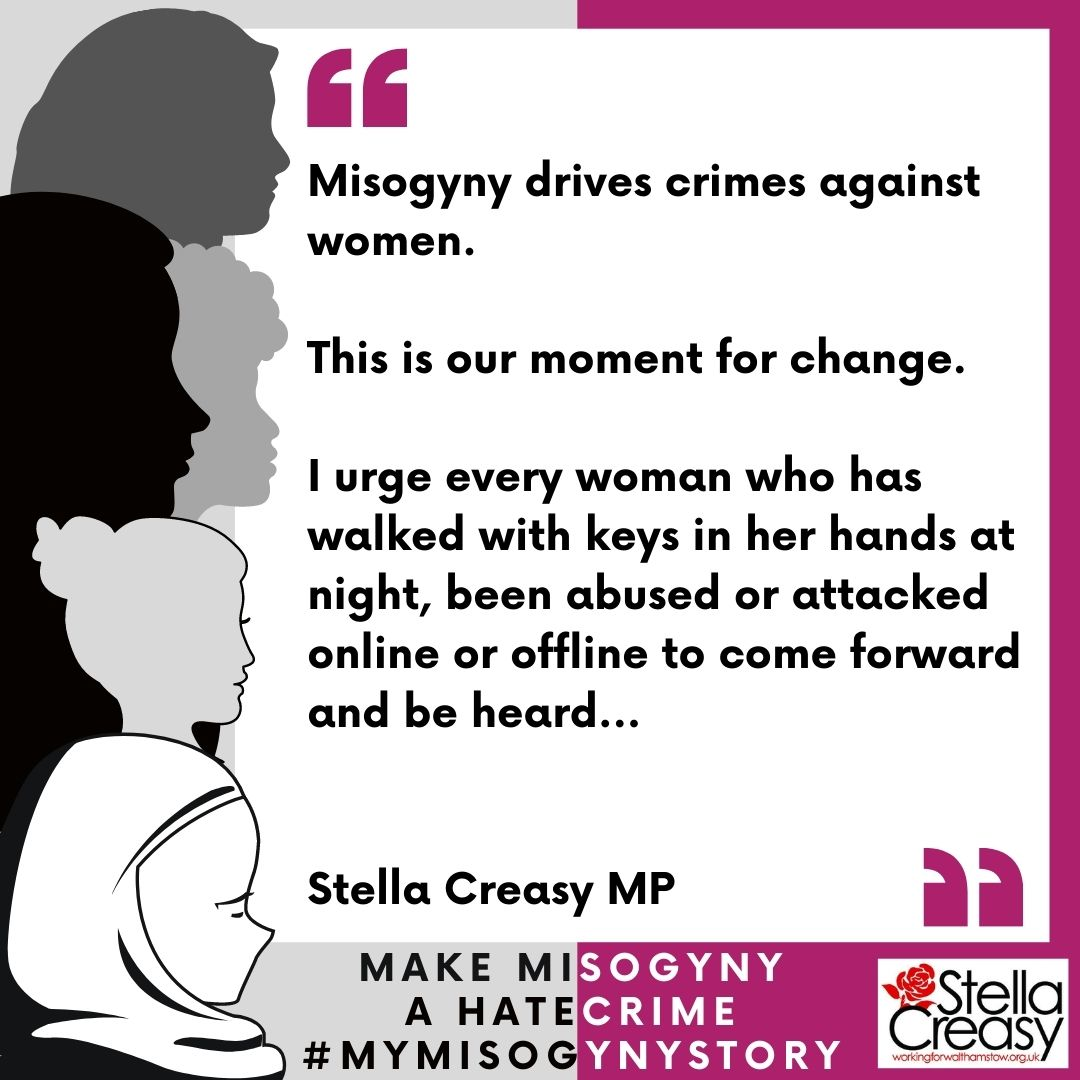 🚨 RT! With rates of domestic violence and harassment soaring in lockdown, it's our moment to be heard- after two years of campaigning the law commission today published their consultation on how to include misogyny in our hate crime laws. 1/2#mymisogynystory https://t.co/MZGayuZ9x5