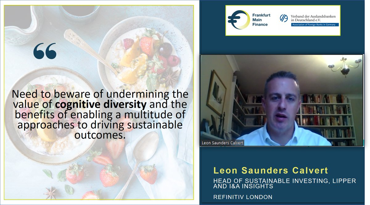 "Live now | @LeonSCal, Head of Sustainable Investing, Lipper and I&A Insights @Refinitiv London speaking on ""#SustainableFinance: The Challenges of Scoring and #Ranking"" at #VirtualFoodForThought. https://t.co/VI59Z6D5Cd"