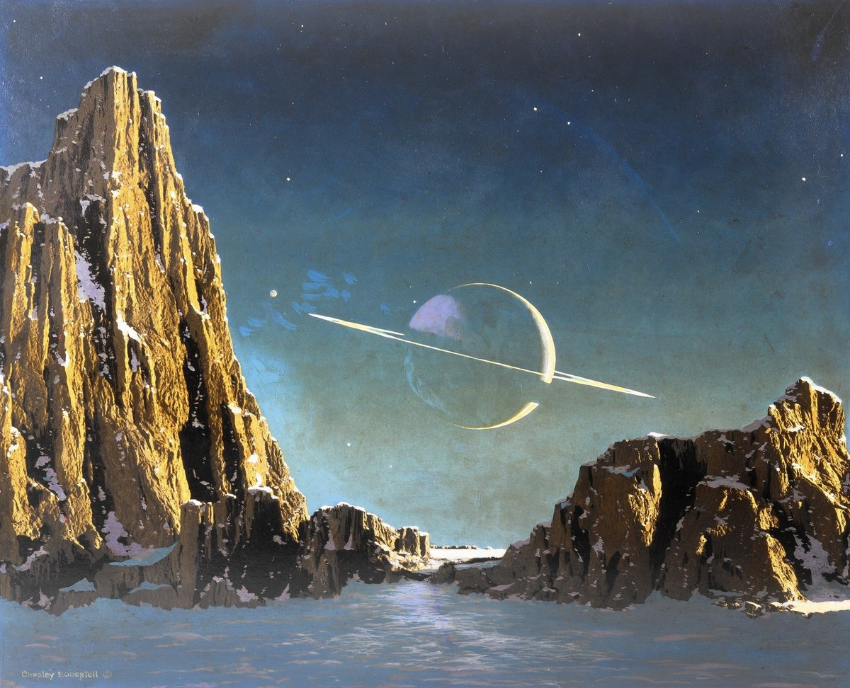 """""""Saturn from Titan"""" by Chesley Bonestell, 1944."""