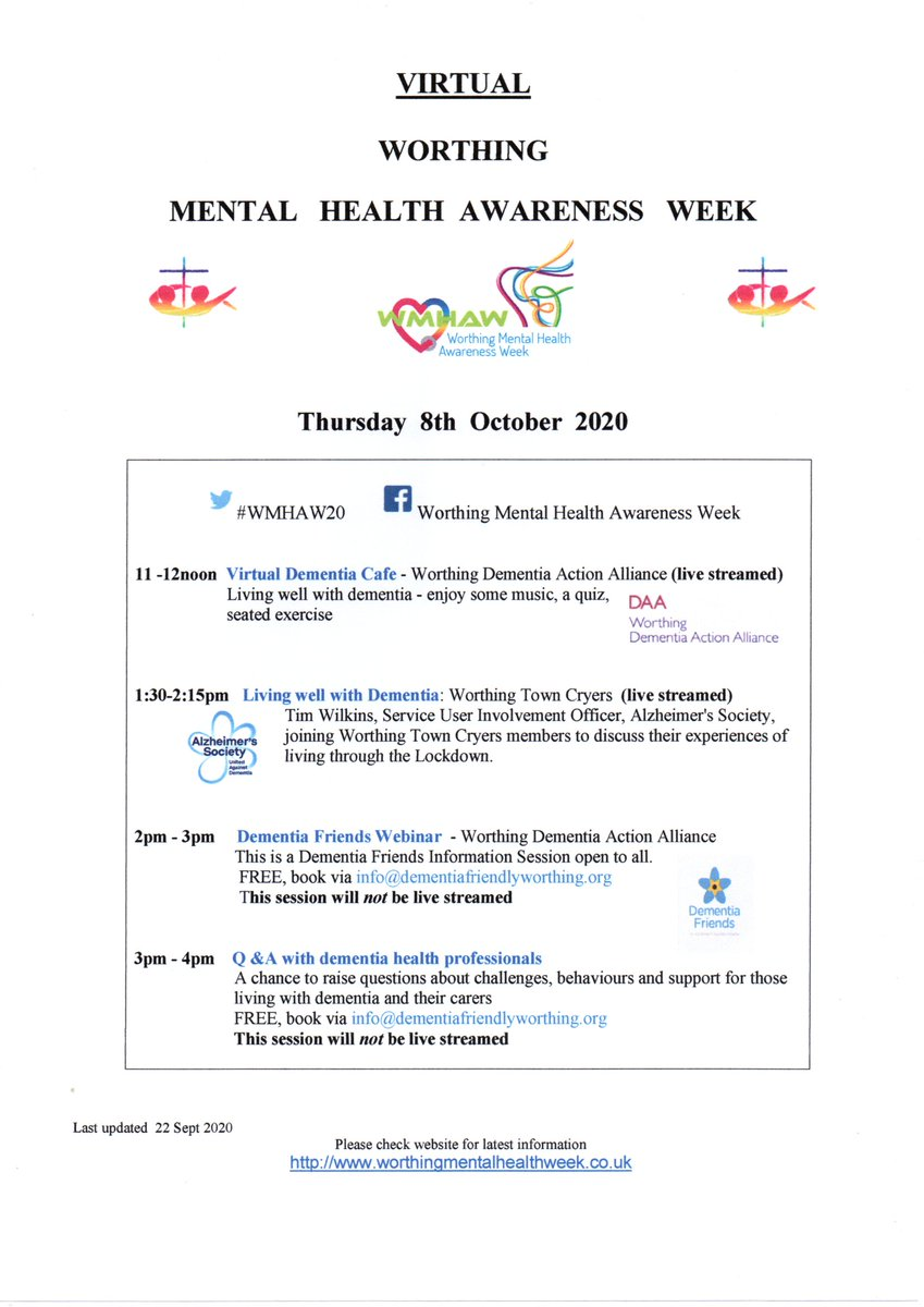 🌺Thur 8 Oct : dementia focus: Virtual cafe with singing, seated exercises, quiz; living well; dementia friends session and opportunities to talk with professionals @DFWorthing @DementiaFriends #Worthing #MentalHealthAwarenessWeek #WMHAW20 https://t.co/x6kAiMgxHD