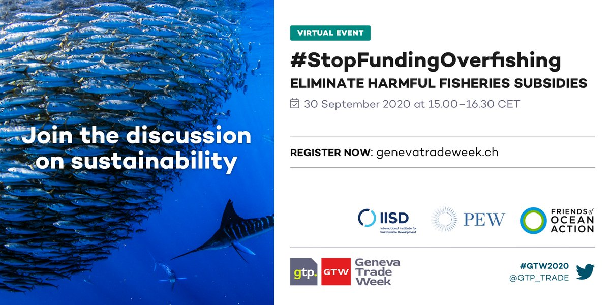 Every week closer to reach a WTO agreement to reallocate harmful fisheries subsidies to sustainable activities🐟   Next Wednesday, we cannot miss this event to #StopFundingOverfishing organised by @IISD_news,  @pewtrusts and @FriendsofOcean.   Register at https://t.co/DV2a13j0JG https://t.co/RhCcStKaVN