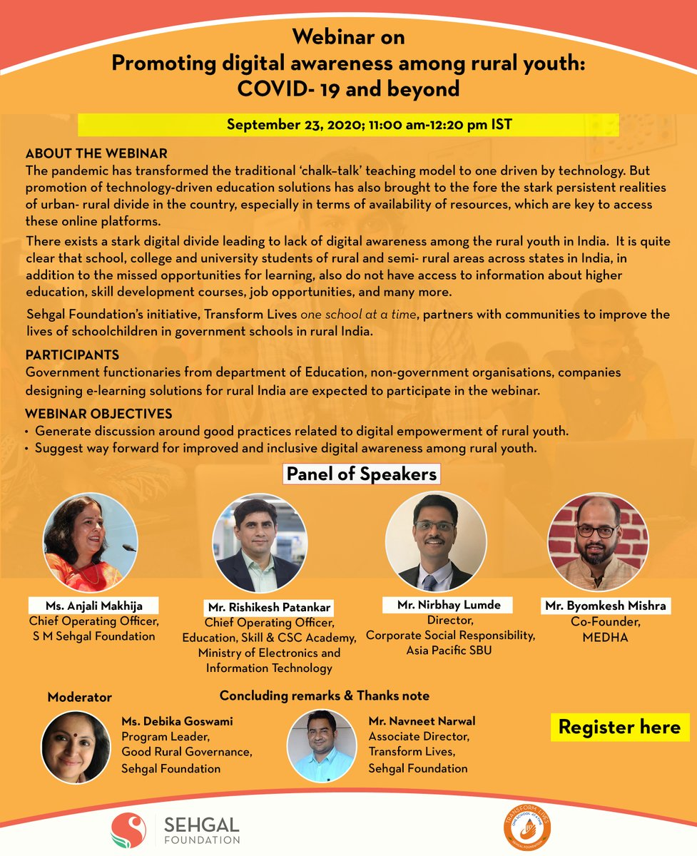 "Privileged 🙏to participate & share work of CSCs in the session on  ""Promoting digital awareness among rural youth: COVID-19 and beyond' on 23rd September, 2020 organised by @sehgalfdn Fruitful Session @_DigitalIndia @CSCegov_ @academy_csc @dintya15 https://t.co/fanIEHIEla"