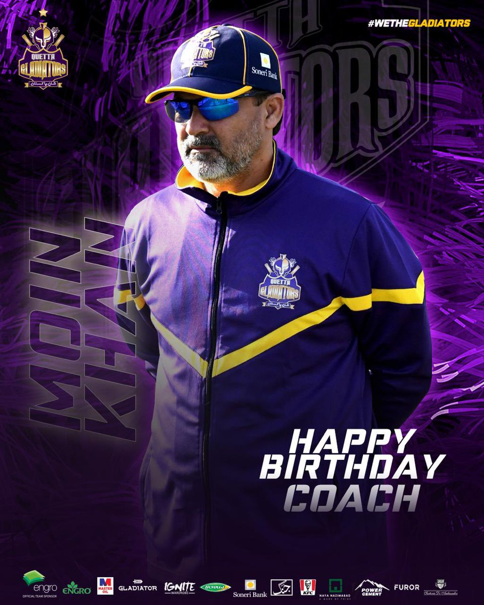 Join us in wishing Happy Birthday to our Super Coach Moin Khan. A World Cup and Asia Cup winner with Pakistan and @thePSLt20 winner the Quetta Gladiators #ShaanePakistan #WeTheGladiators https://t.co/LTut3DTg86