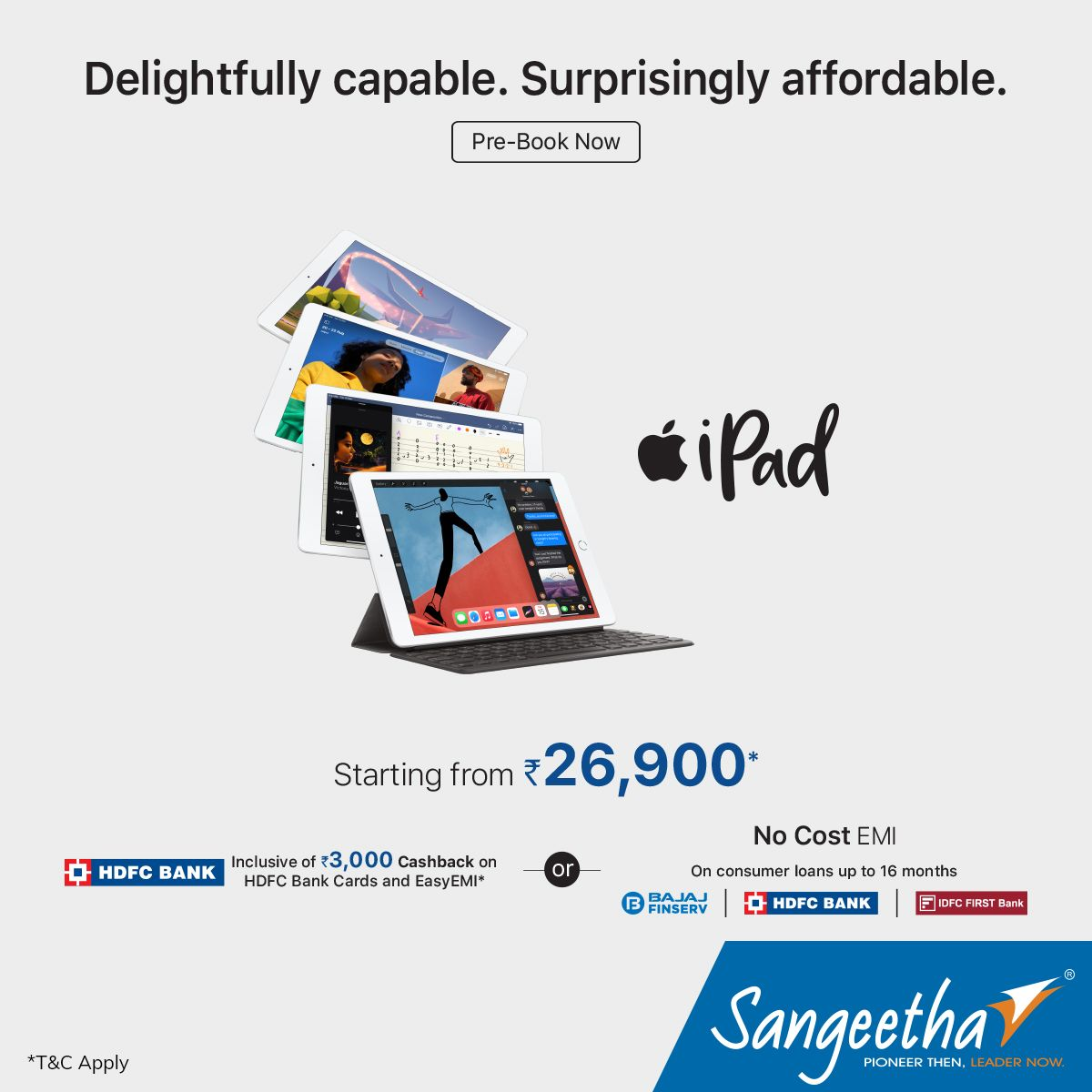 Apple iPads, a perfect combination of tremendous capability and unmatched ease of use and versatility, now at a surprisingly affordable price of Rs. 26,900. Pre-book yours now at https://t.co/x8L6QRKFdV . .  #SangeethaMobiles #Accessories #Apple #iPad #AppleiPad  #iPad8 https://t.co/BE1wqVRazX