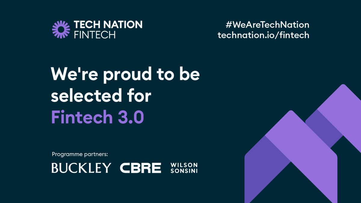 We are excited to announce that we will be joining Tech Nation's next Fintech cohort, as one of 31 companies on the programme! 🚀 👏  #WeAreTechNation #fintech #ukfintech #risingstars https://t.co/DO1WLnIFMi
