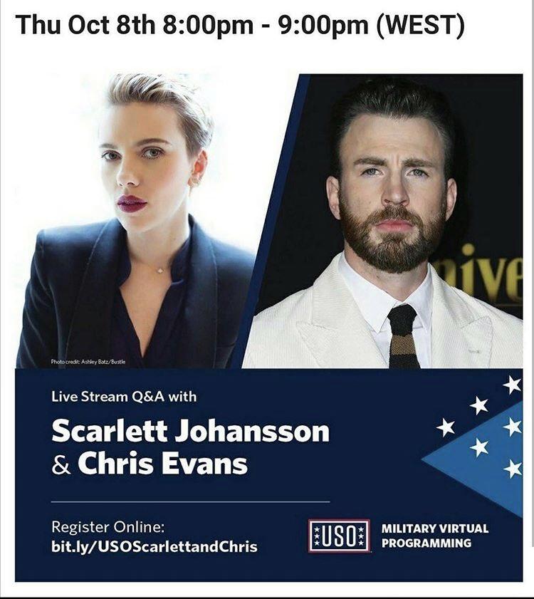 USO Live stream Q & A with Scarlett Johansson and Chris Evans on Thu Oct 8th ❤️  https://t.co/bbsdTJcOaj https://t.co/umPQyfh0uJ