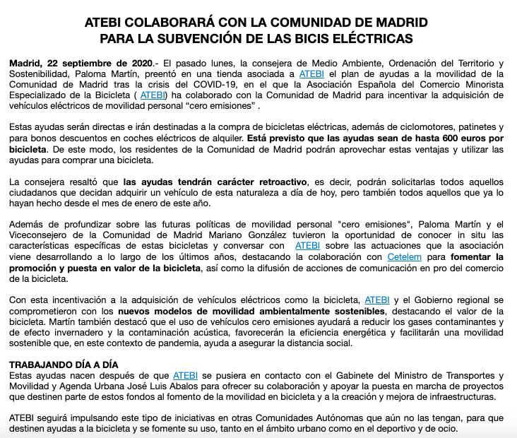⚠ ATEBI colaborará con la Comunidad de Madrid para la subvención de las bicis eléctricas. Está previsto que las ayudas sean de hasta 600 euros por bicicleta. #bicicletas #bike #madrid 👉 https://t.co/fFUcebIHib https://t.co/kz4SuGIP4D