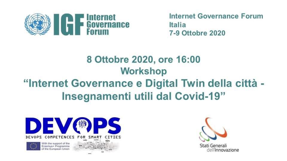 """📌SAVE THE DATE:8 ottobre 2020 ➡️@SGInnovazione partecipa a #IGFItalia con il workshop """"Internet Governance e Digital Twin della città - Insegnamenti utili dal Covid-19"""".🗓Programma:https://t.co/f61wjCUItB ✏️Iscrizione entro il 30/9: https://t.co/JvSSqd8H81 #IGF2020 #SGI https://t.co/o3RVEholAG"""