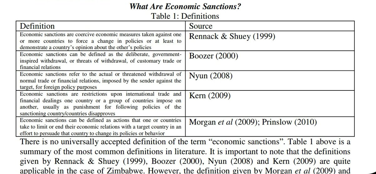 https://t.co/h2g0yhaXki  There is no universal accepted definition of what a sanction consists and this means they are valuable to manipulation which is convenient for those imposing to smother any economy. @usembassyharare @euinzim @wto https://t.co/d8wGArG07h