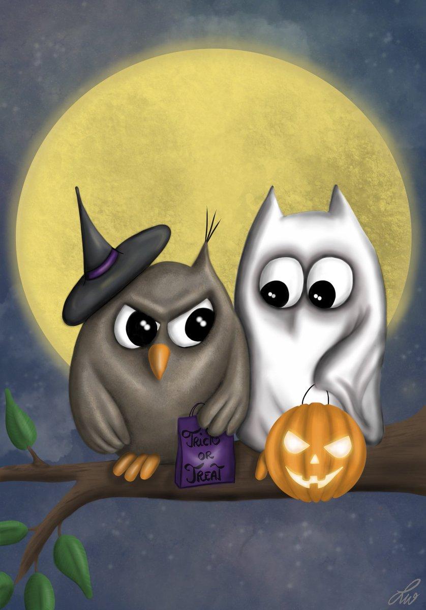 It's bit early for Halloween, but I was in the mood.  #Procreate #procreateart #Halloween #Halloween2020 #illustration #art #digitalart #owllove #owls https://t.co/qIO94otA4I