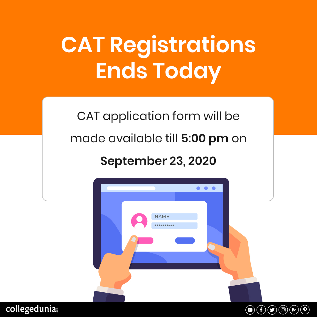 CAT 2020 Registration will end today at 5:00 p.m.  Get details at https://t.co/6UdJhchhLf  #CAT #CAT2020 #CATExam #CATRegistration #CATExam2020 #CATRegistration2020 #Exam #Examseason #admissions #admissions2020 https://t.co/za5YFjeuPr