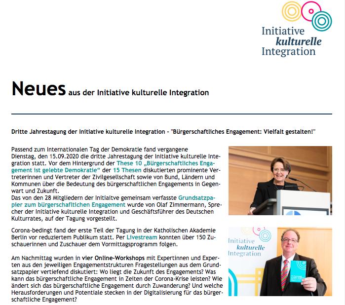 Image for the Tweet beginning: #Neues aus der Initiative #kulturelleIntegration: