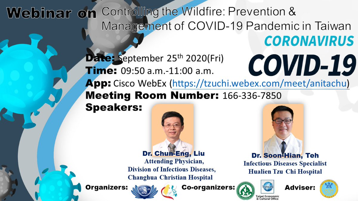 Welcome to join the webinar—Controlling the Wildfire: Prevention & Management of COVIID-19 Pandemic in Taiwan. It will be held from 9:50 am to 11:00 am (GMT+8) on 25 April 2020, featuring the best practices in Hualien Tzu Chi Medical Center and Changhua Christian Hospital. https://t.co/zdKNNciUGn