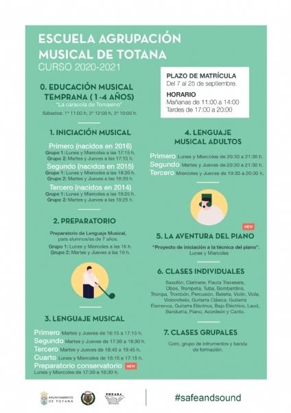 Este viernes 25 de septiembre finaliza el plazo de matrícula de la Escuela de Música de la Agrupación Musical de #Totana @amustotana para el curso 2020/21. 🎼🎧🎹🥁🎷🎺🎸 ▶️ https://t.co/HrM13vUghW https://t.co/nbYnV2Obht