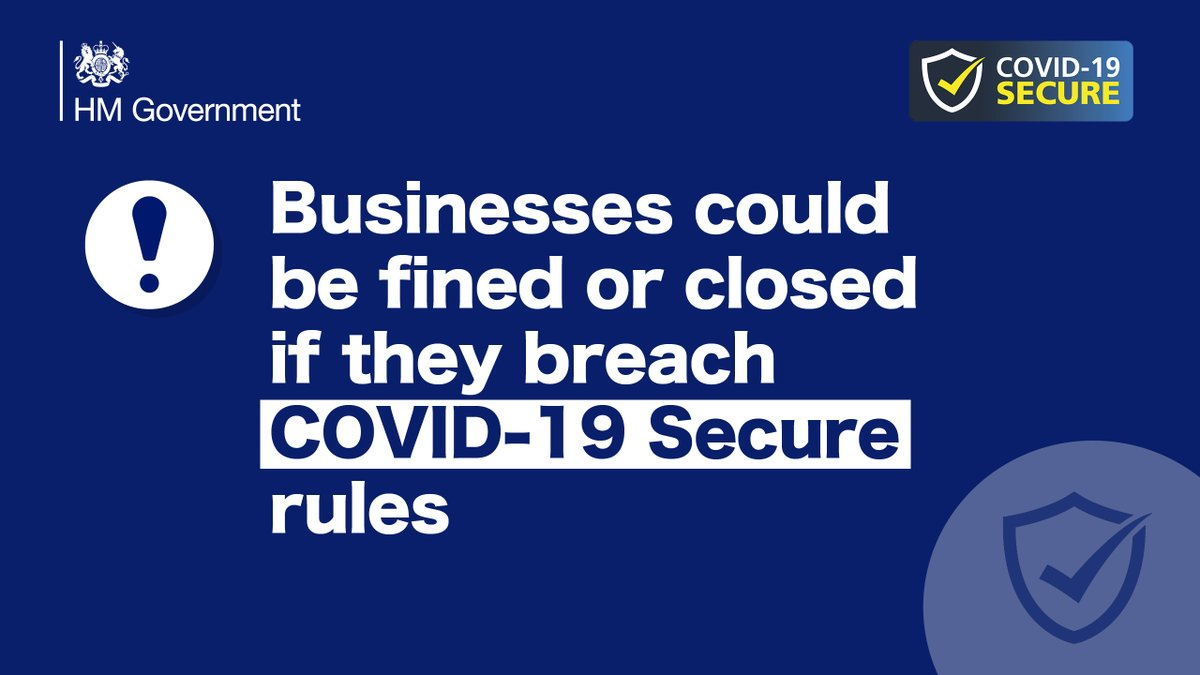 From tomorrow, COVID-19 Secure guidelines will become legal obligations in retail, leisure, tourism and other sectors.    Businesses that break this law will be fined and could be closed if they breach these rules.  ➡️ https://t.co/gTIJGh6mLB https://t.co/18sCntO0dC