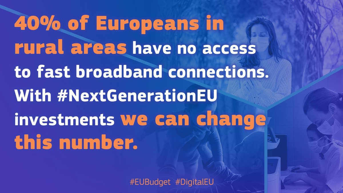 Today 40% of Europeans living in the rural areas don't have access to fast broadband connections.  This means: ✖️ no home working or learning ✖️ no online shopping ✖️ no access to new services  With new investments through #NextGenerationEU we can change this number. https://t.co/ziwdSPS6YO