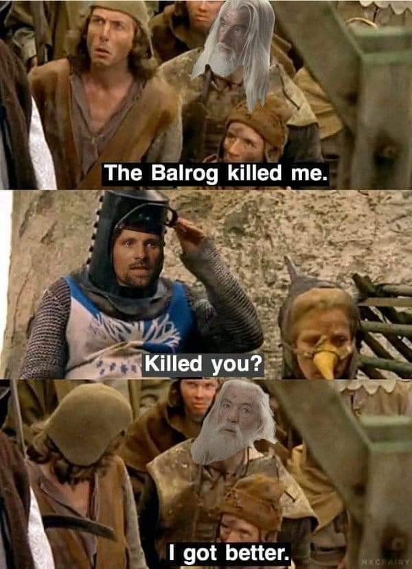 All of the levels! 🤣🤣  #lotr #LordOfTheRings #MontyPython https://t.co/DCKdiLCYX1