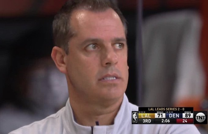 The @Nuggets jump all over the #LakeShow in game 3 & face of #FrankVogel says it all..... or does it?  Follow us, like, and caption for chance at $50 Free Play! #HoopDreams #WhoYaGot ##AmericasFavoriteSportsbook #HoopLife #BetBasketball #NBAPlayoffs #NBAOdds #Lakers #Nuggets https://t.co/T8GVFtnuJA