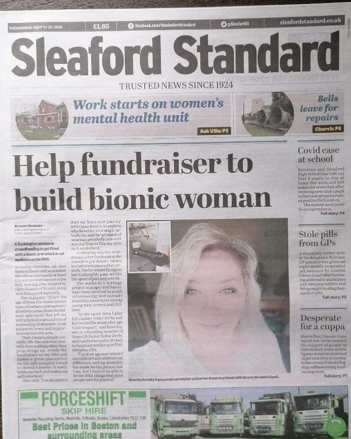 Front page news!  Thank you so much @SleafordSt for covering my #bionic story!  @openbionics #prosthetics #disability #limbdifferent #fundraising #Lincolnshire #sleaford   https://t.co/A31SzVa50K https://t.co/A0ywtO4tSs