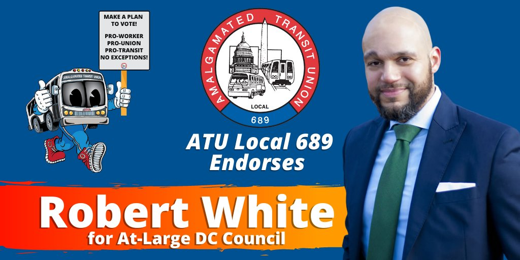Were proud to join @dclabor in endorsing @RobertWhite_DC. Councilmember White has been a constant ally of public transit workers and riders.