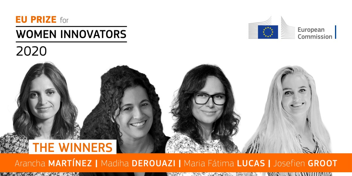 🗣️Diversity and gender equality is part of the DNA of #innovation, by definition.   👏🏻 Congrats to 2020 #WIPrizeEU winners:  Madiha Derouazi, Arancha Martínez, Maria Fátima Lucas & Josefien Groot. 🏆  Get inspired by these outstanding entrepreneurs 👉🏻https://t.co/itnMk4Pmq5 https://t.co/wxCvffD2ab