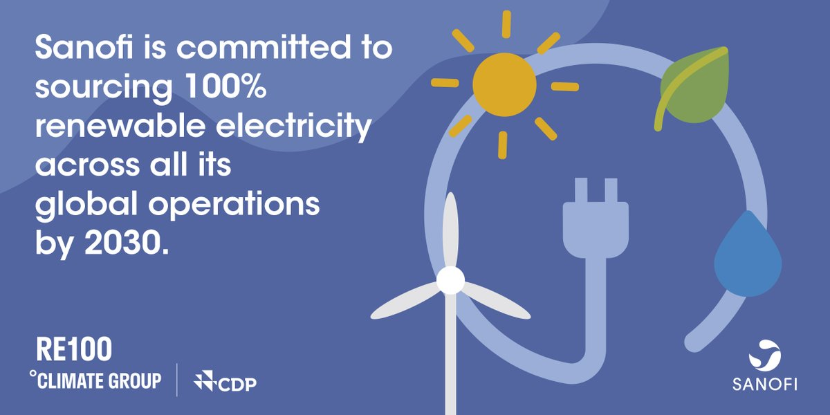 Sanofi has joined the #RE100 initiative to source 100% renewable electricity across our global operations by 2030, part of our ambition to achieve carbon neutrality by 2050. https://t.co/irijP9FEEI #ClimateWeekNYC @theRE100 @ClimateGroup https://t.co/Z7KOtVDPYY