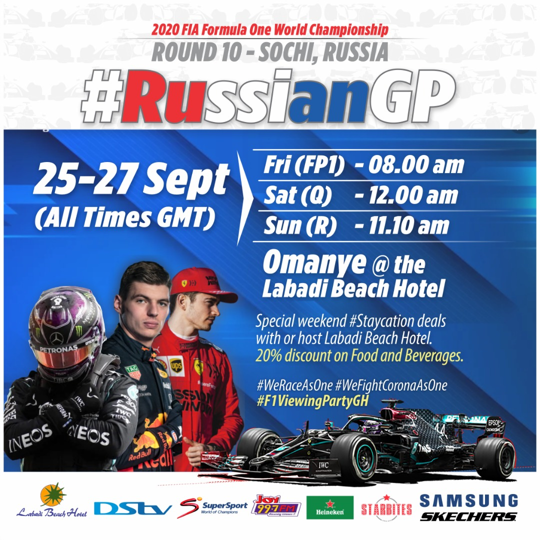 Round 10 of the #Formula1 World Championship 2020 plays host to Sochi's #RussianGP this weekend, and all the action will be LIVE and in HD on DStv. Let's meet at the #F1ViewingPartyGH at the @LabadiBeach Hotel. Call now to reserve a seat.🏁 Check flyers for more information. https://t.co/dwVfpnyVDE