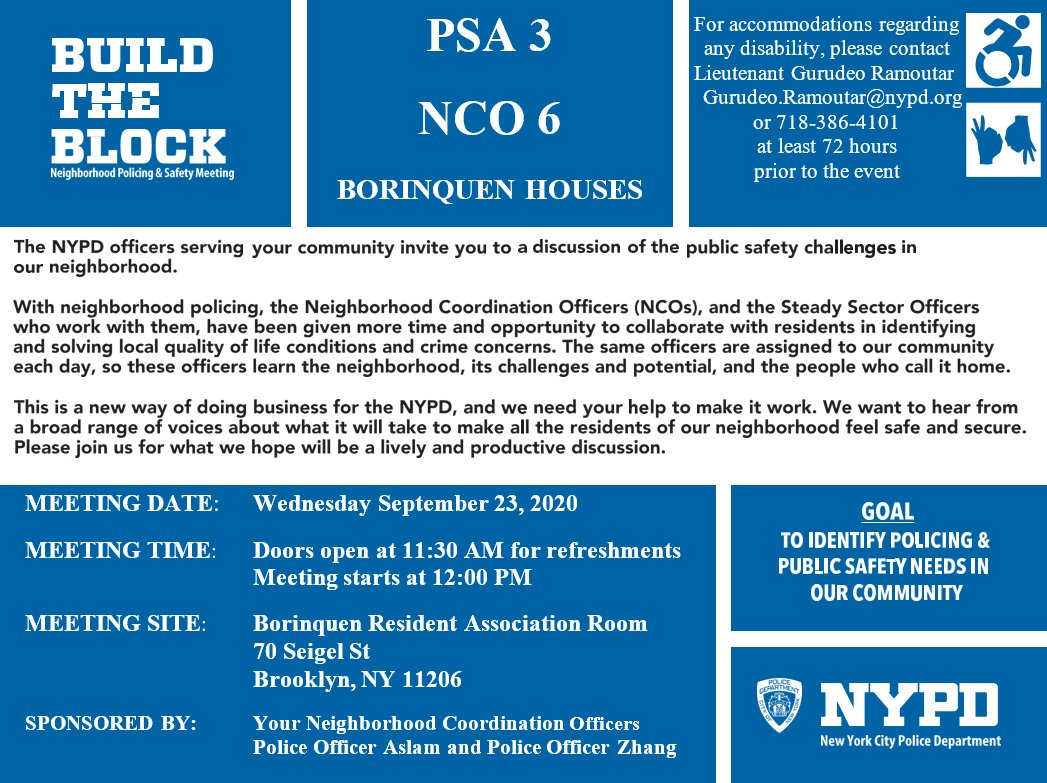 Reminder: Don't forget to join your Neighborhood Coordination Officers today for their Build the Block Meetings. Maximum capacity is 15 people due to COVID 19. Details are below. We hope to see you there to hear your concerns! https://t.co/1CRTjQJsDL