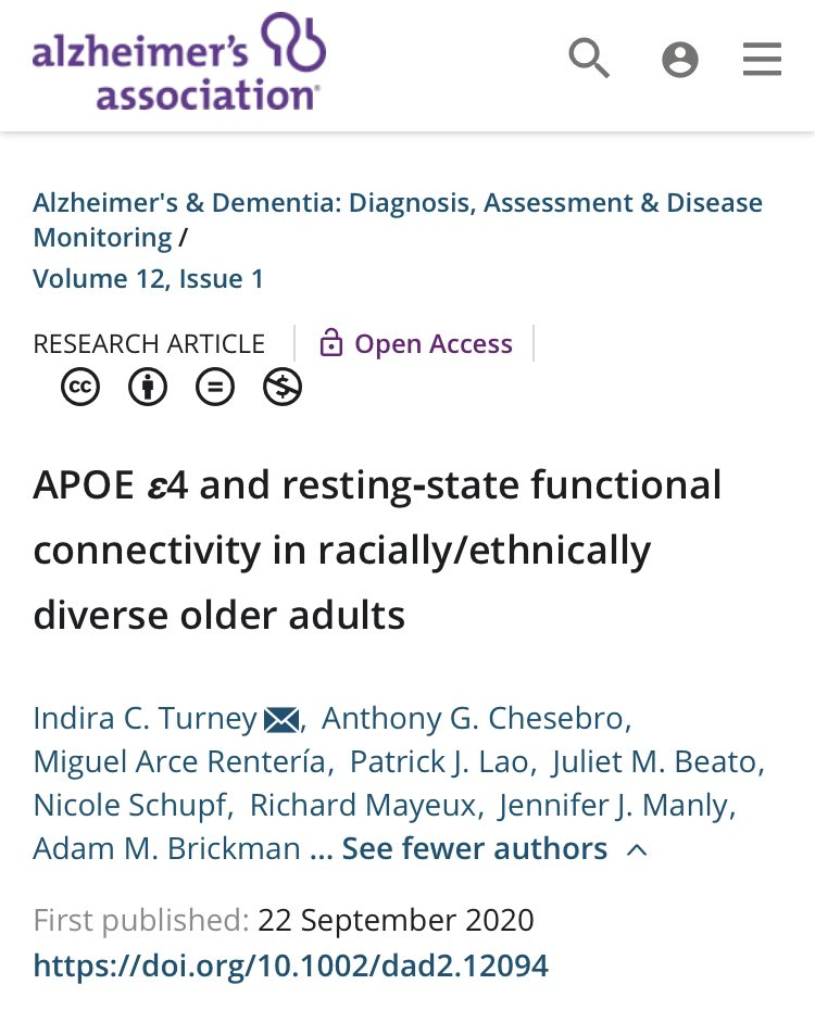 """Check out our newest article on """"APOE ε4 and resting‐state functional connectivity in racially/ethnically diverse older adults."""" Thanks team! @Chesebrain @NeuropsychArce @BrainPETPat @__Julietaaaa @ManlyEpic @AdamMBrickman https://t.co/alWATP2mVn https://t.co/X78DIXQRts"""