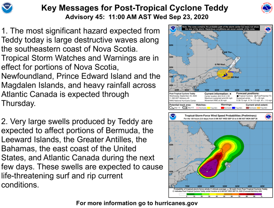Here are the Wednesday 11 AM AST Key Messages for Post-Tropical Cyclone #Teddy.  The latest NHC advisory is at https://t.co/tW4KeFW0gB and the latest Canadian Hurricane Centre @ECCC_CHC information is at https://t.co/7OGkgVSNg3 https://t.co/FXwBPw71pS