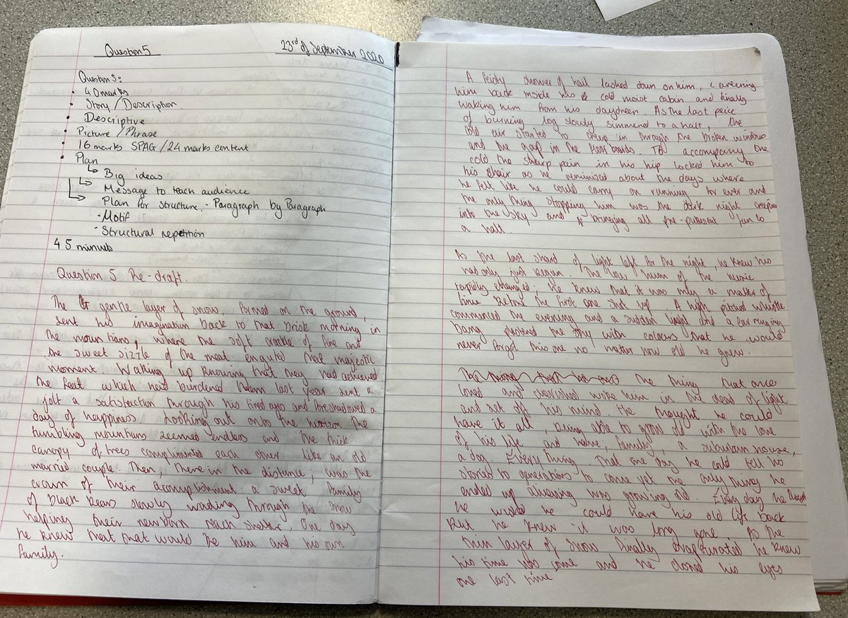Beautiful presentation in this young man's book while redrafting and improving his homework in today's English lesson. #Extendedwriting #makingsuccessinevitable https://t.co/Xk9aNNCgzM