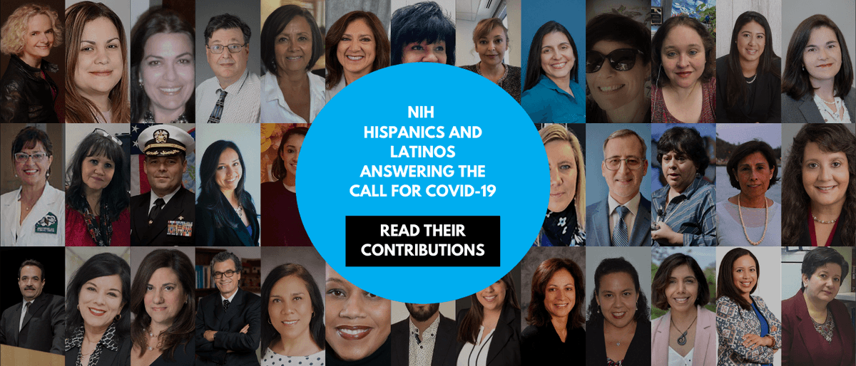 For #HispanicHeritageMonth2020, we invite you to explore the experiences, contributions, and messages of encouragement from Hispanics and Latinos at the #NIH who are supporting the fight against #COVID19. Read their contributions https://t.co/85dRJou1df https://t.co/4tSRM91N6b