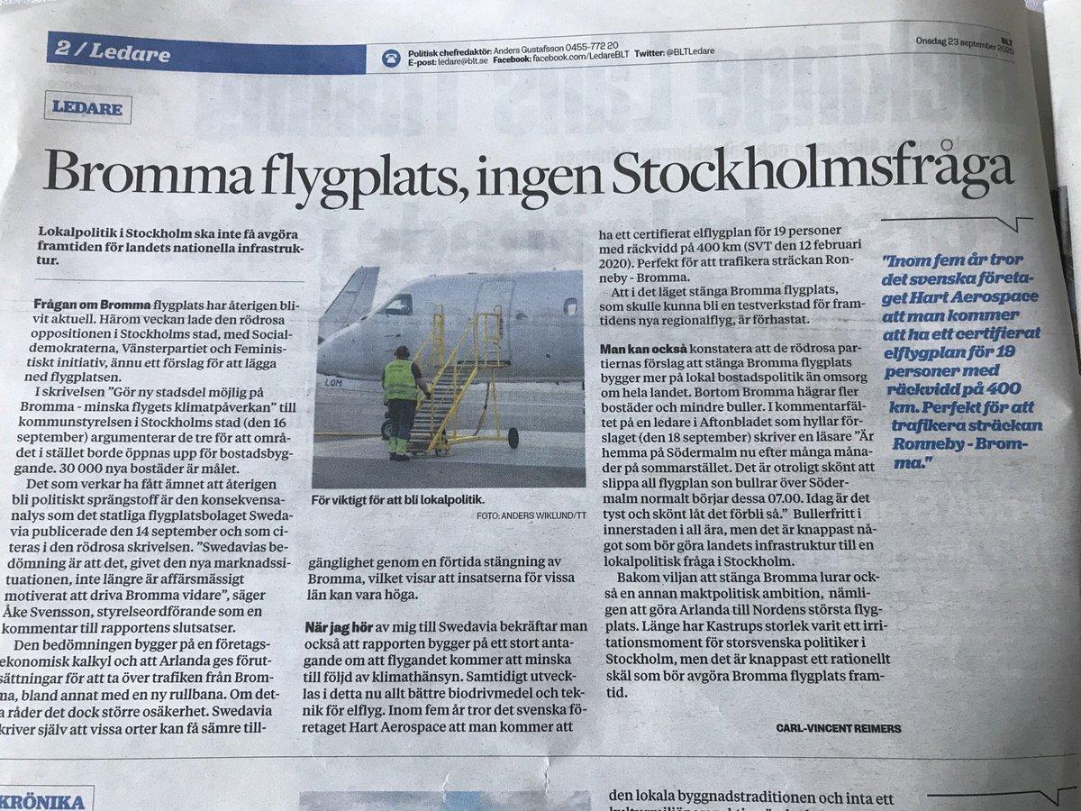 Bör Bromma flygplats läggas ned samtidigt som det regionala elflyget snart blir verklighet? Tveksamt, skriver jag i @BLTLedare https://t.co/U0tOaerDz9