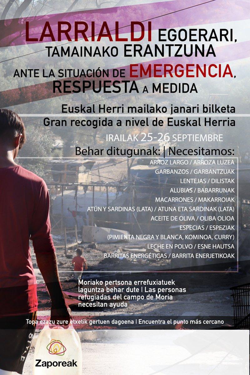ℹ️ Gran acogida de alimentos en Euskal Herria organizada por @ProyectoSabores  📅 25 y 26 de septiembre  🙌 ¡Ayudemos entre tod@s! ⬇️ https://t.co/kSCUXvDwAB