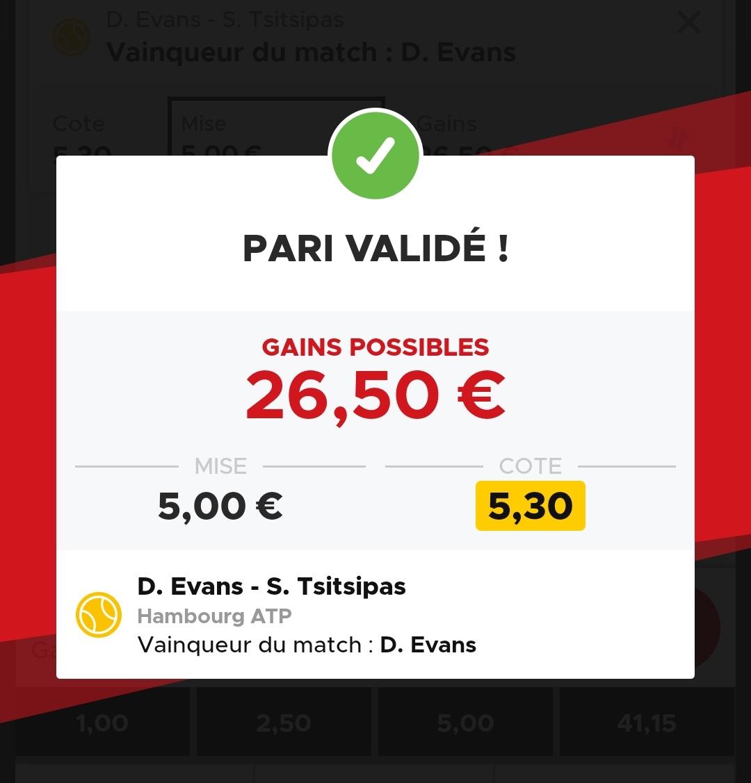 🚨 Prono express 📍 #Evans gagne face à #tsitsipas 💰5.30 💵Mise 1 unité La côte me semble haute vu la forme actuelle de Tsisi #Wojo #TeamParieur #tipster #ATPHamburg https://t.co/hB9ZkpTSEi