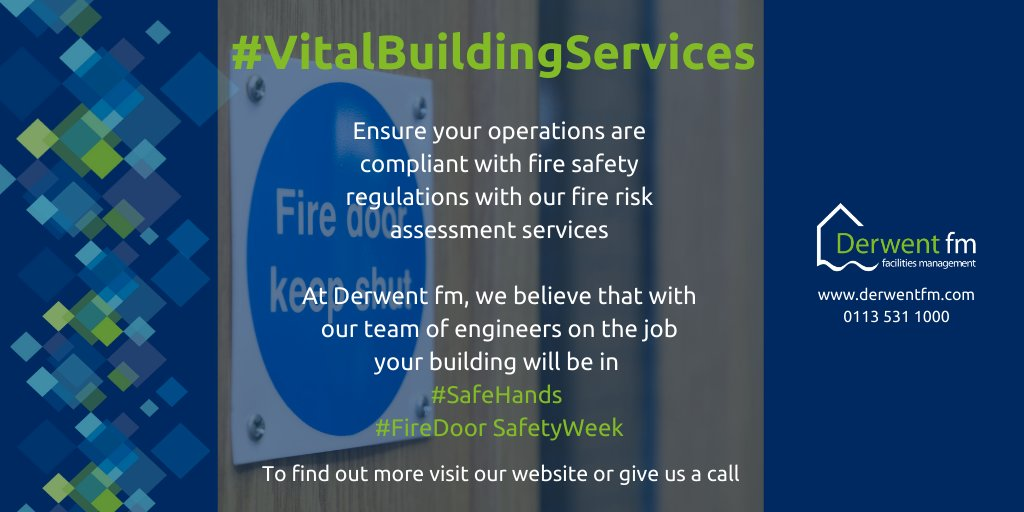 #FireDoorSafetyWeek is a timely reminder to ensure your operations are compliant with fire safety regulations. Check out the fire risk assessment service #Derwentfm offer https://t.co/zrcd35jq0L  #safehands #facman #facilitiesmgmt https://t.co/4YLPMEr6jl