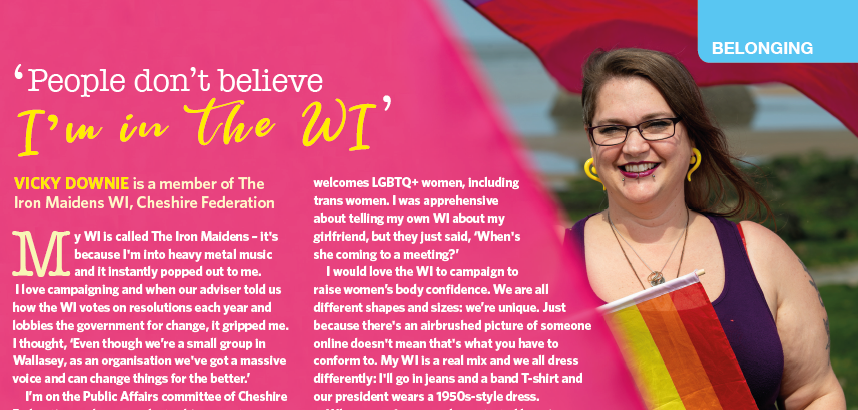 Happy #BiVisibilityDay to all our bisexual+ members! Heres a sneak peek at Vicky Downie of @IronMaidensWI @CheshireWIs living out loud in our October issue.💗💜💙