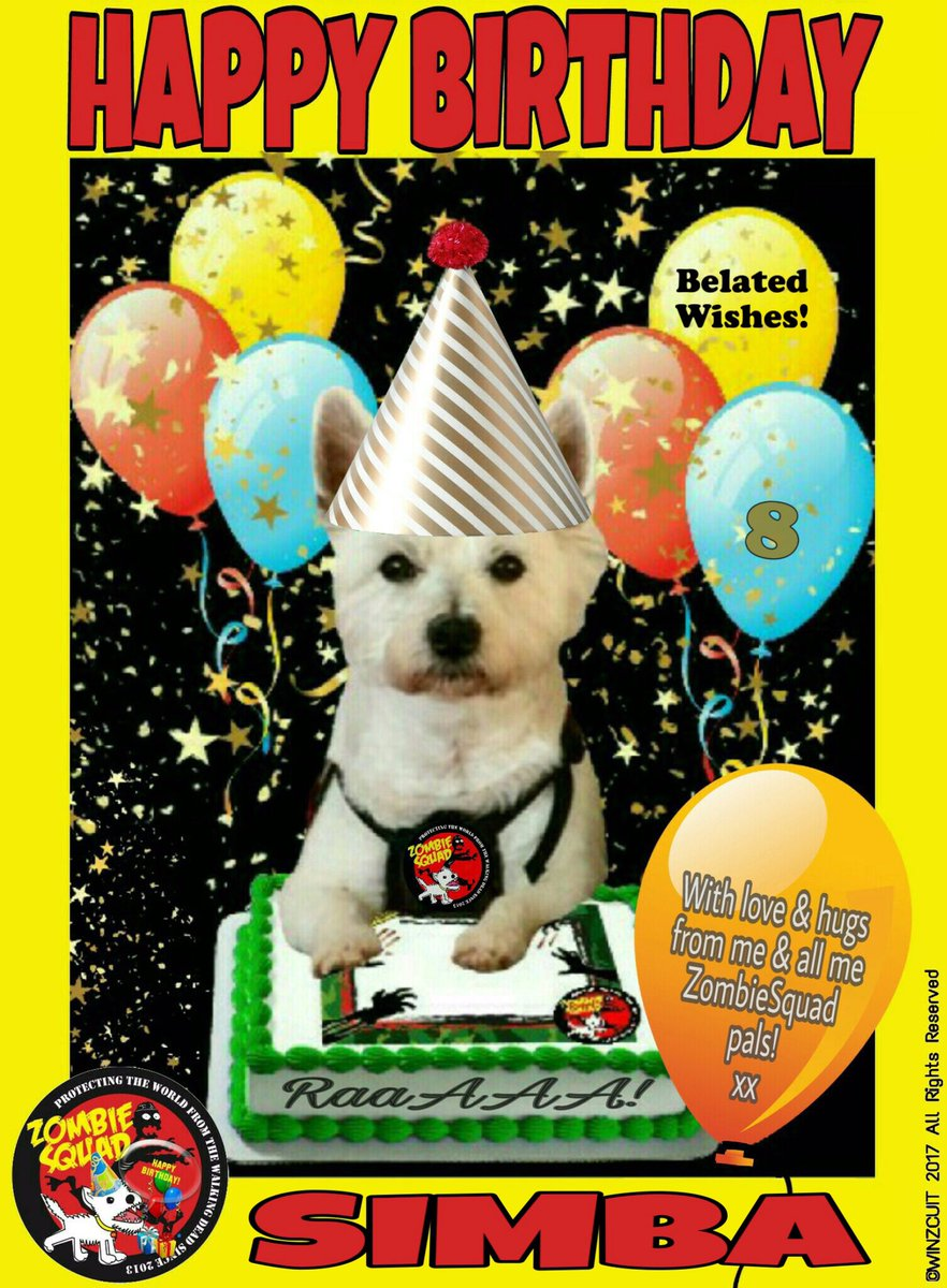 🎂Wishing a BELATED 🎁HAPPY 8th BIRTHDAY🎉 to our pawsome pal, SIMBA from Leada Billy & your ZombieSquad pals. Sorry we missed your special day on 22 September... we hope it was full of tasty treats, belly rubs & cayke, soldyer.  💜🎂🎁🎉 @AngeliaOllerman @ZombieSquadHQ #ZSHQ https://t.co/aC7GNfiGEq
