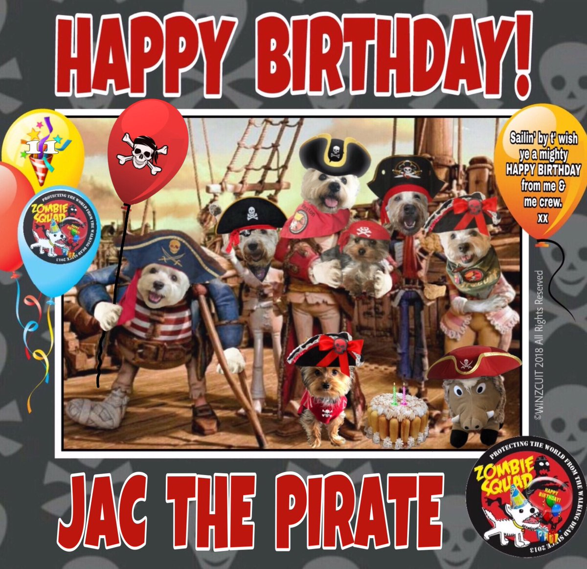 🎂Wishin' a very 🎁HAPPY 11th BIRTHDAY🎉 to our pawtastic shipmate, JAC THE PIRATE from Leada Billy & yer ZombieSquad crew. We hope yer special day be full o' tasty treats, belly rubs 'n cayke, mez heartie. Arrrrr!! ☠️⚓ 💜🎂🎁🎈🎉 @Woollysausage @ZombieSquadHQ #ZSHQ https://t.co/gpwJpxkMec