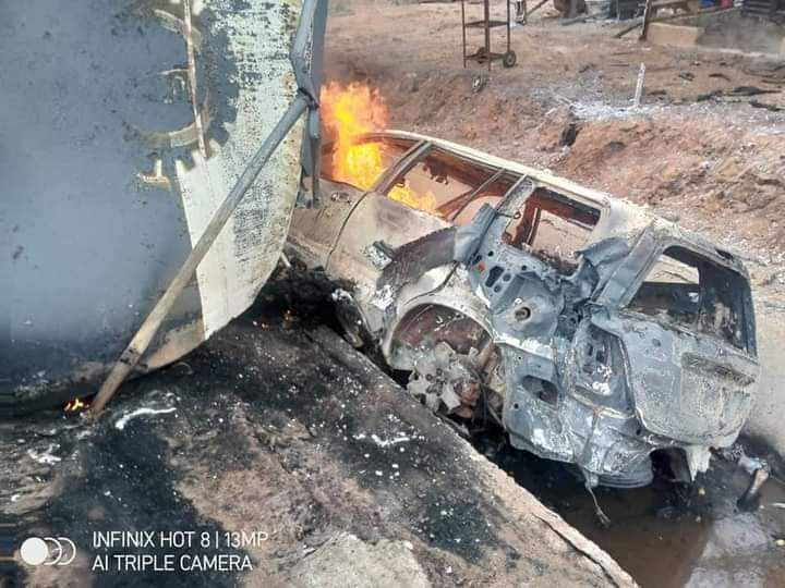 The tanker rammed into other oncoming vehicles