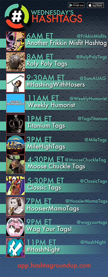 Hashtag Roundup - Wednesday   ❤️# Games? Tweet with us!  Follow us & Download our FREE @HashtagRoundup app (IOS/Android) for daily schedule & notifications right to your phone! 👉https://t.co/ksALqMcxr4👈  11PM ET @HashNight https://t.co/GU5ESQY9ny