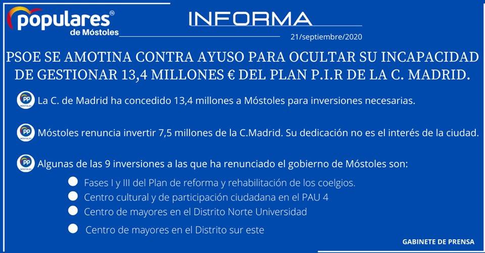 📣 El gobierno de #Móstoles:  ❌No gestiona, usa las instituciones de forma partidista ❌Renuncia a invertir 7,5 de los 13,4 millones que la Comunidad de Madrid le da para inversiones ❌Renuncia a realizar 9 obras muy necesarias para la ciudad https://t.co/6idip0zIpI