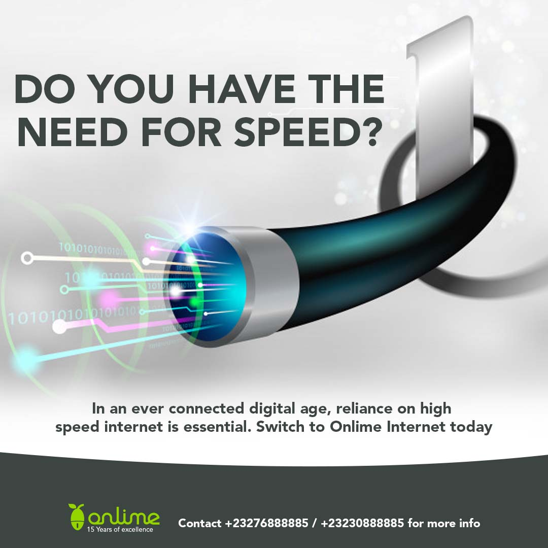 #SaloneTwitter do you have the need for speed? Switch to #OnlimeInternet today. The only provider with a fully redundant internet connection in #SierraLeone. Call 076 888885 / 030 888885 or email info@onlime.sl for more info. #SierraLeone #Freetown https://t.co/AENU7b1rS8
