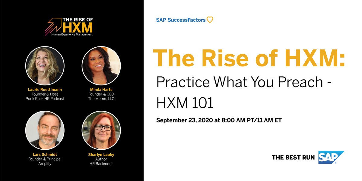 Are companies really putting people first? Join me, @MindaHarts, @Lars, and @sharlyn_lauby, as we discuss putting human experience management into practice to build an engaged, productive, and agile workforce.  Watch The Rise of HXM, today at 11 am ET. https://t.co/obwT3Zih2k https://t.co/x18fOkEmGG